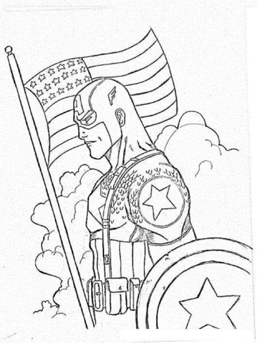 Dibujo Del Capitan America Con La Bandera De Estadosunidos Para