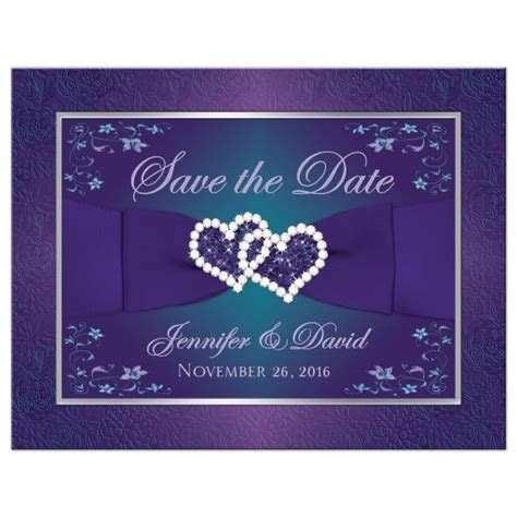 Wedding Save the Date Card   Purple, Teal Floral   Printed