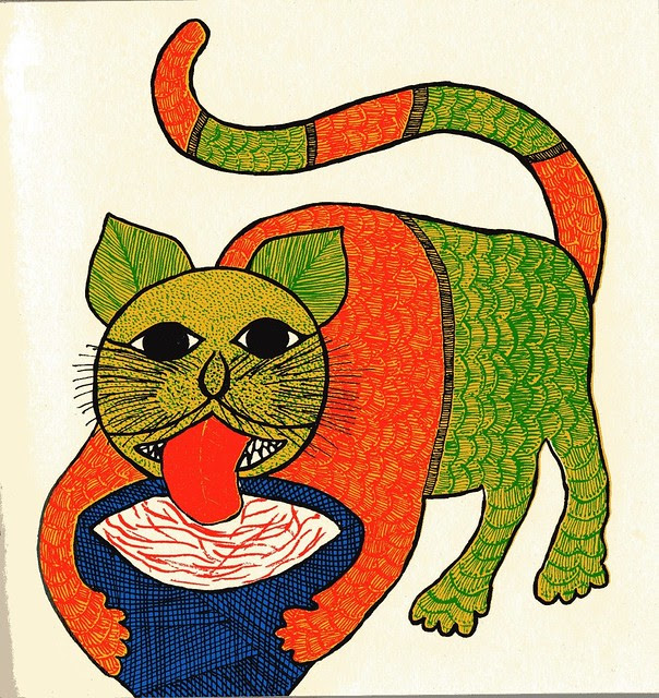 Indian folk art illustration of cats (Tara Books)  002