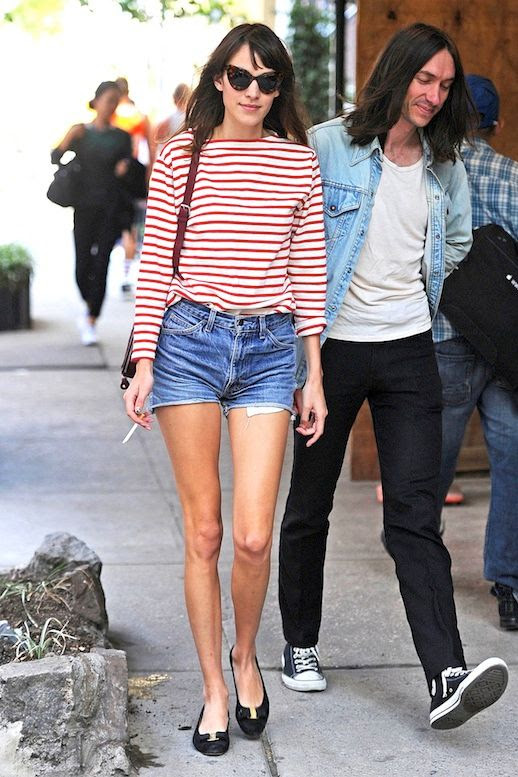 1 Le Fashion Blog 40 Of Alexa Chung Best Looks With Denim Shorts Cat Eye Sunglasses Red Striped Tee Jean Cut Offs Via Vogue UK