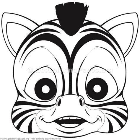 zebra animal face mask coloring pages getcoloringpagesorg