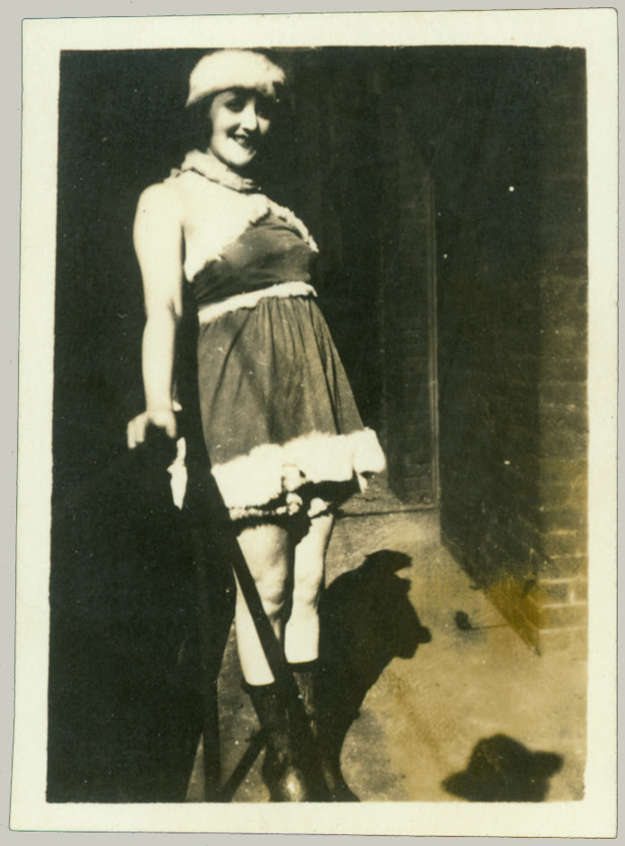 girl on steps in costume