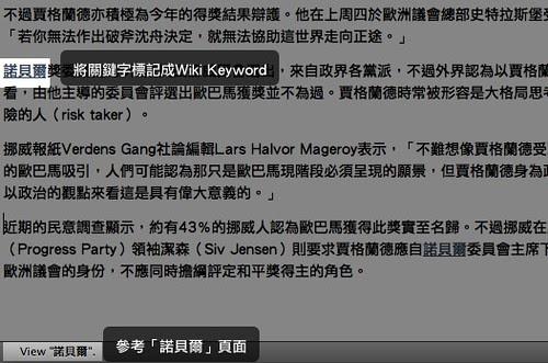 將關鍵字標記成Wiki Keyword