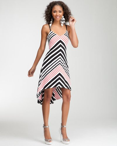 Bebe Hi-Lo Stripe Dress BLK-WHT-HIBISCUS Size Small