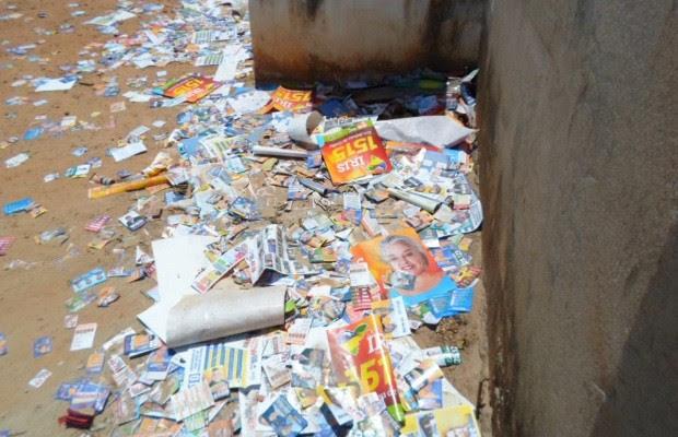 Lixo eleições Goiânia, Goiás GEtúlio (Foto: Arquivo pessoal/Getúlio Borges)