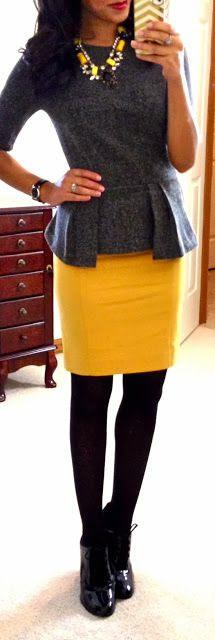 tweed peplum top, mustard yellow skirt