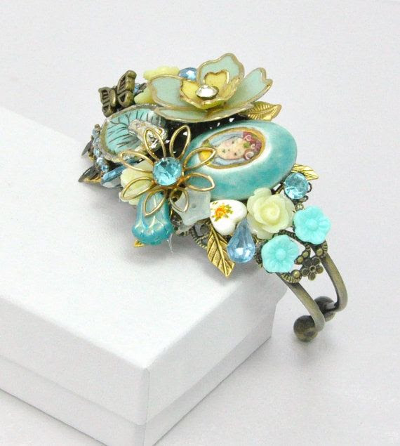 Vintage Jewelry Collage Cuff Bracelet