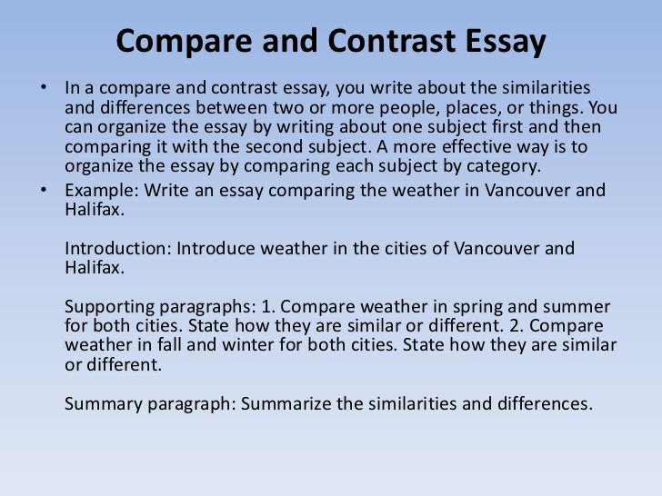 how to write a compare and contrast essay between two articles