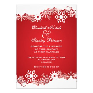 Snowflake red white winter wedding invitation