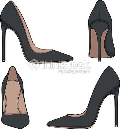 女性黒古典的な靴のかかとベクター カラー イラストのセットです