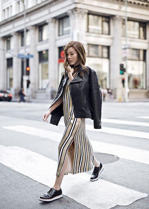 Le Fashion Blog Striped Slip Dress Leather Jacket Chunky Flats Via Tsangtastic