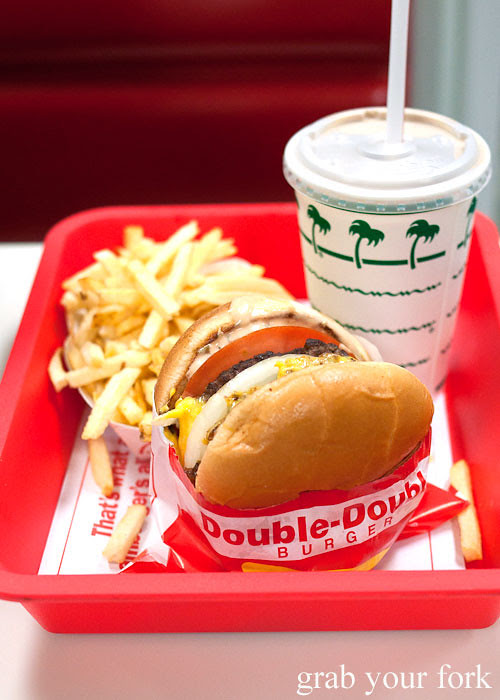 double double burger with french fries and chocolate shake at in-n-out burger la los angeles american fast food