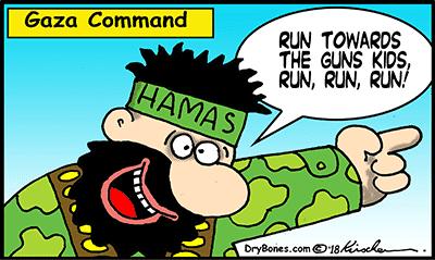 Dry Bones cartoon, Israel, Gaza, Hamas, Demonstrations, Palestinians,