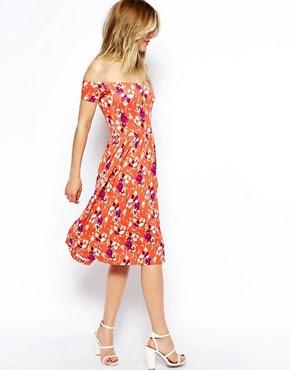 Image 4 ofASOS Midi Bardot Skater Dress in Floral Print
