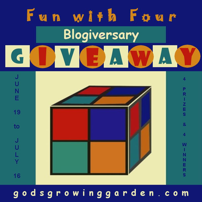 Enter the Fun With Four Blogiversary Giveaway. Ends 7/16