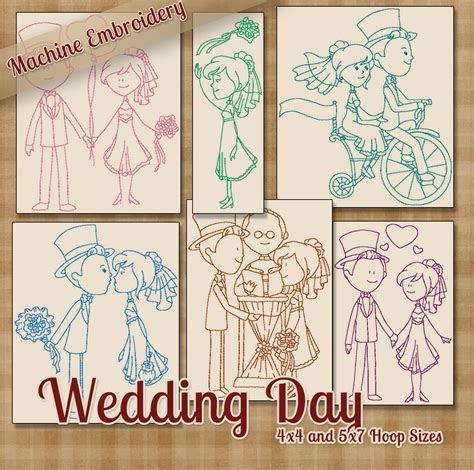 Redwork Wedding Day Machine Embroidery Patterns / Designs 5x7