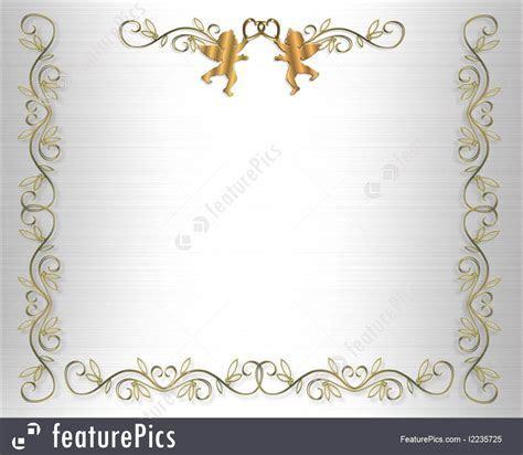 Illustration Of Wedding Invitation Border Gold Hearts