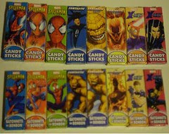 Marvel Hero Candy Sticks boxes