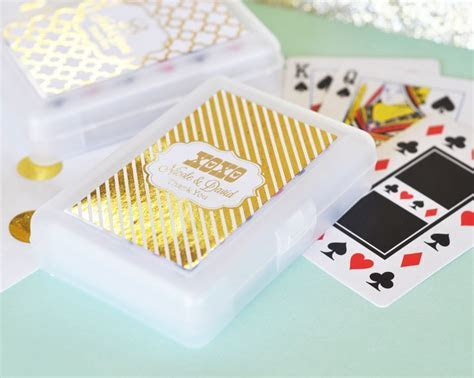 Personalized Metallic Foil Playing Cards   Wedding   Gold