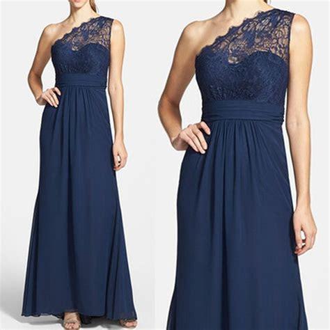 Elegant Navy Blue One Shoulder Lace Chiffon A Line Floor