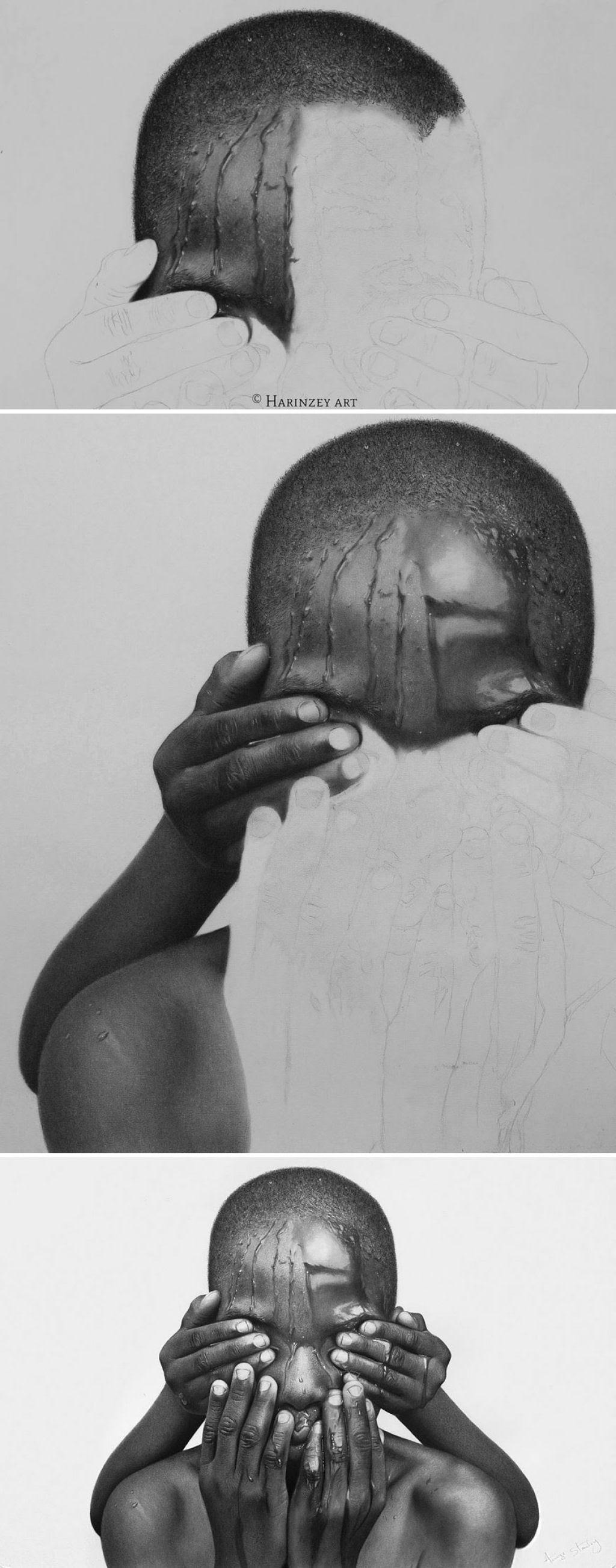 Retratos hiperrealistas de grande porte renderizados com grafite e carvão 02