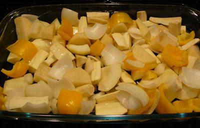 Roasting vegetables for parsnip soup