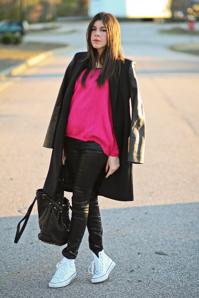 Zara Coat with leather sleeves, Asos hot pink waffle sweater, Converse hi top sneakers, Alexander Wang Diego bag, Fashion outfit