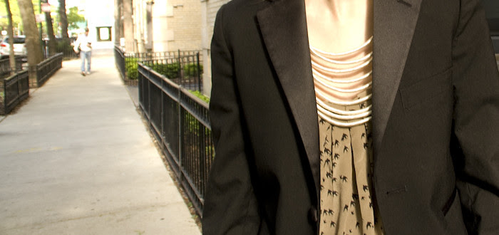 spring outfit, dash dot dotty, blue maxi dress, bird print, tiny tuxedo blazer, ootd, dottybot
