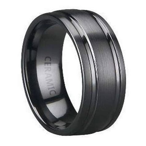 black ceramic mens wedding band parallel polished