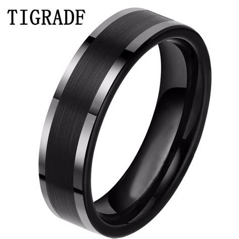 6mm Black Tungsten Carbide Ring Carbon Fiber Engagement
