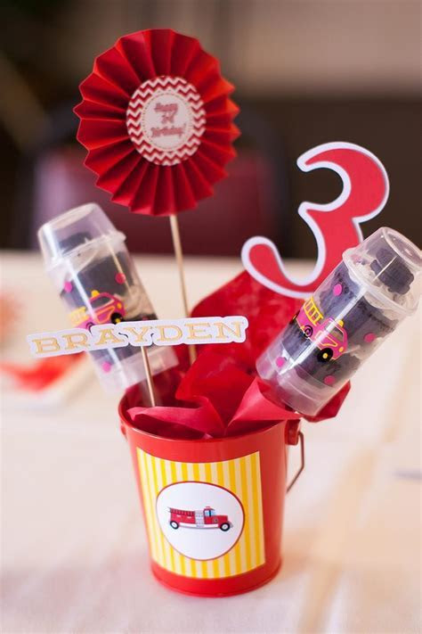 Kara's Party Ideas Fire Truck Themed Birthday Party with