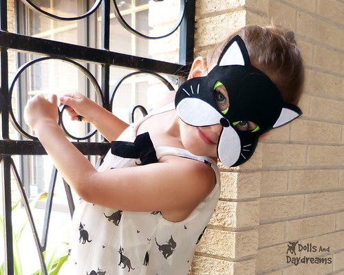 Cat kitty Mask pattern childrens tail cute play set halloween black cat 2 copy