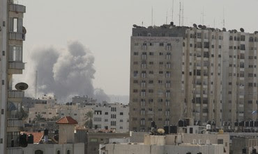 Smoke rises after an IAF strike in Gaza [file]