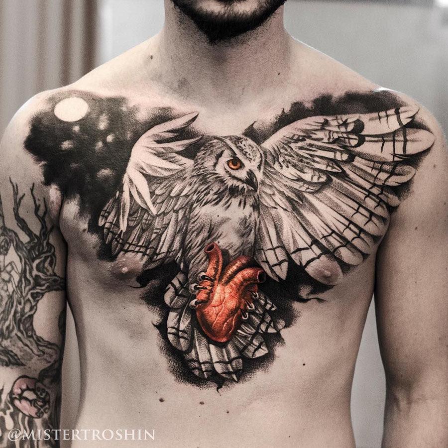 Owl Holding Heart Chest Tattoo Best Tattoo Design Ideas