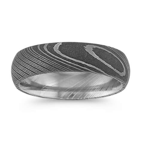 Contemporary Damascus Steel Mens Ring (6mm)   Shane Co.
