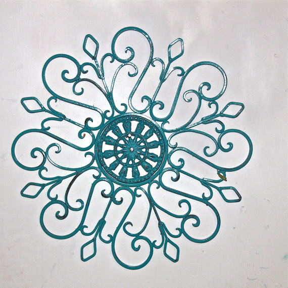 Metal Wall Fixture, Turquoise, Distressed Patio Decor By Aqua ...