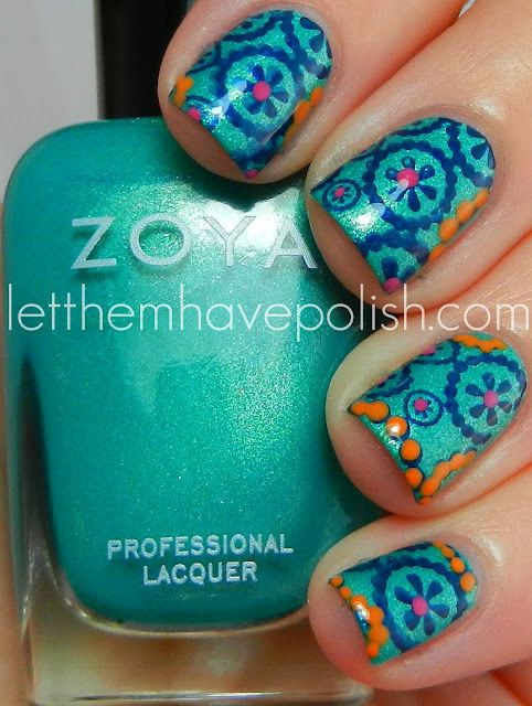 Amazing summery Zoya mani by Let Them Have Polish - reminds me of Vera Bradley