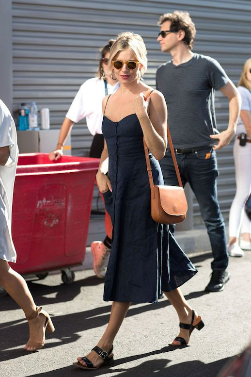 Linen Dress Spring Summer Sienna Miller Style Round Sunglasses Hoop Earrings Shoulder Crossbody Saddle Bag Heel Buckle Sandals Le Fashion Blog
