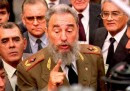 Cuban President Fidel Castro talks with reporters