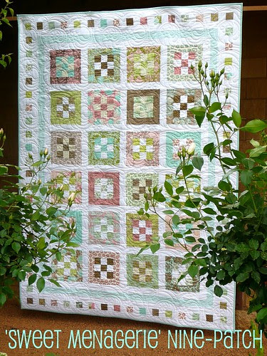 'Sweet Menagerie' nine-patch quilt