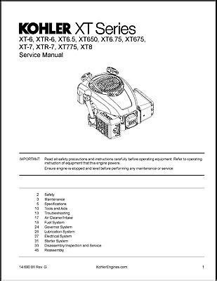 kohler    hp xt xtr lawn mower engine service