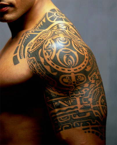 Tribal And Polynesian Half Sleeve Tattoo For Men