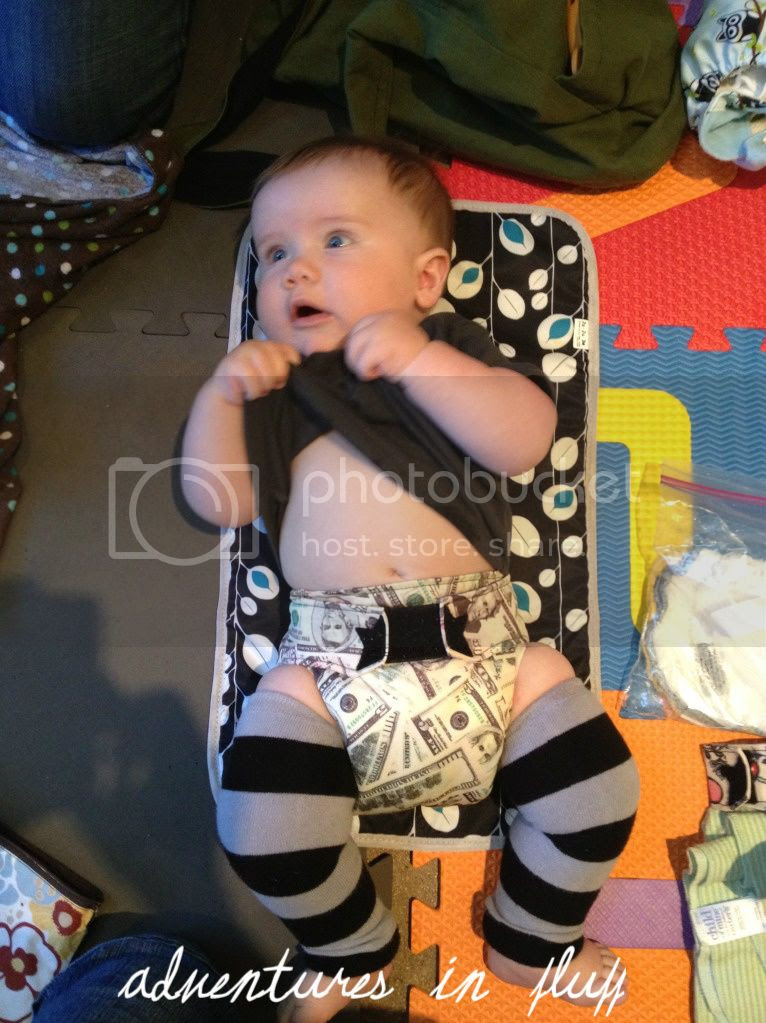Changing Linc into his Money Ragababe Cloth Diaper