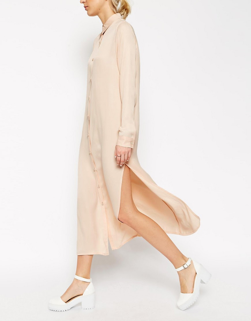 Image 3 ofASOS WHITE Silk Blend Shirt Dress With Long Sleeves
