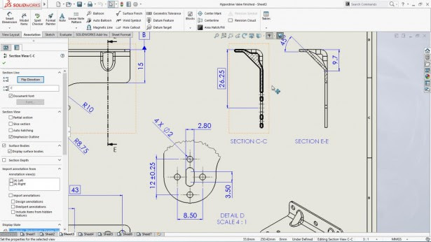 solidworks lineas seleccion