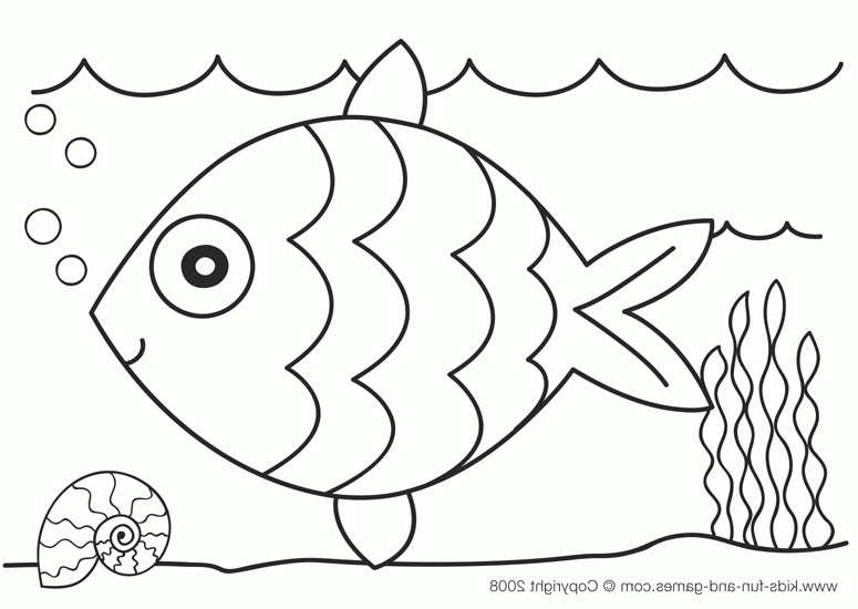 Free Coloring Pages For Kids Fish - Drawing With Crayons