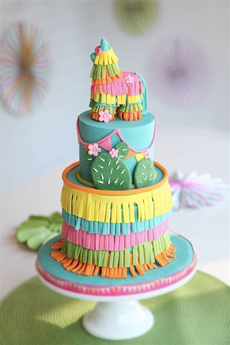 Colorful Piñata Southwest Cactus Birthday party cake on