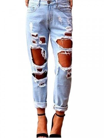 Retro Zipper Ripped Sexy Women Long Denim Jean