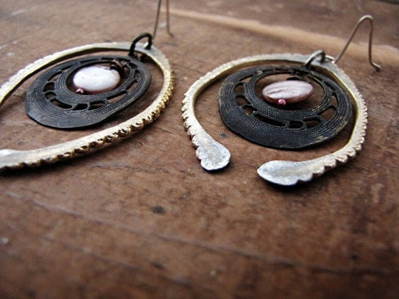 Binary - assemblage rustic earrings - hammered metal - tribal sci fi