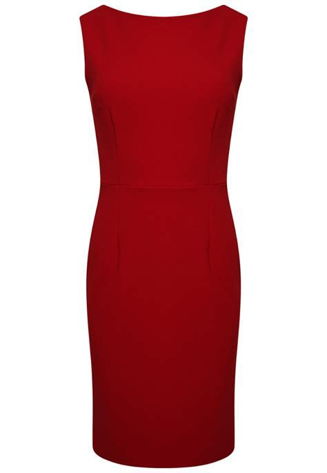 Red Boat Neck Dress